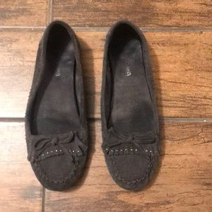 Navy Blue Minnetonka Suede Moccasin Size 8